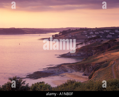 View up the Carrick Roads from St Anthony Head toward St Mawes castle Cornwall England UK - Stock Photo