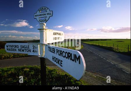 Eggardon Hill roadsign in Dorset county England UK - Stock Photo