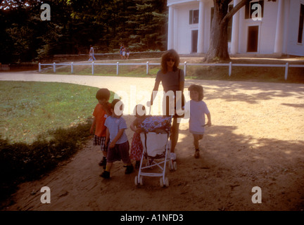 Mother and young family of 4 children visiting Old Sturbridge Village Massachusetts New England USA - Stock Photo