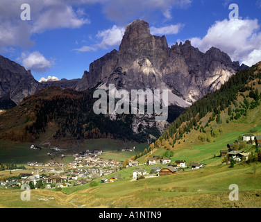 IT - DOLOMITES : Corvara and Sassongher Mountain - Stock Photo