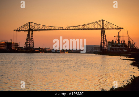 Transporter Bridge at sunset, River Tees, Middlesbrough, Cleveland, England - Stock Photo
