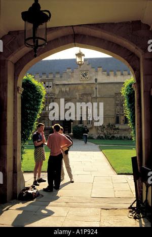 Gateway to quad Jesus College Oxford - Stock Photo