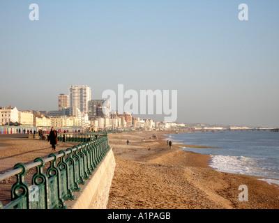 Hove Seafront Esplanade looking towards Brighton East Sussex England - Stock Photo
