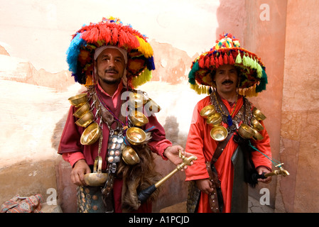 Two water sellers in the Medina of Marrakech, Morrocco - Stock Photo