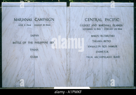 Memorial plaques remembering battles of the 2nd world war in the Philippines - Stock Photo
