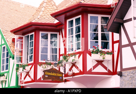 Typical german architecture in the area of the 22nd Oktoberfest, 2005, Blumenau, European Valley, Santa Catarina - Stock Photo