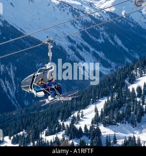 Chair Lift, Gampen Ski Area, St Anton, Vorarlberg, Austria - Stock Photo