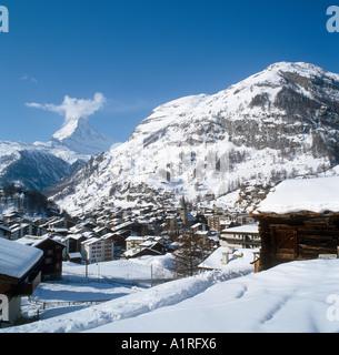 View over the resort of Zermatt looking towards the Matterhorn, Bernese Alps, Switzerland - Stock Photo