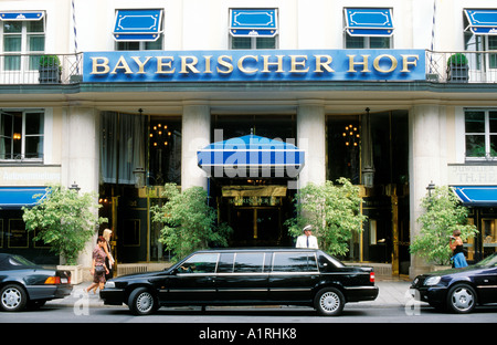 Stretch Limousine In Front Of The Bayerischer Hof Hotel On
