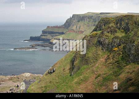 Causeway Headlands: Bays and headlands looking east along the causeway path from atop the cliff - Stock Photo