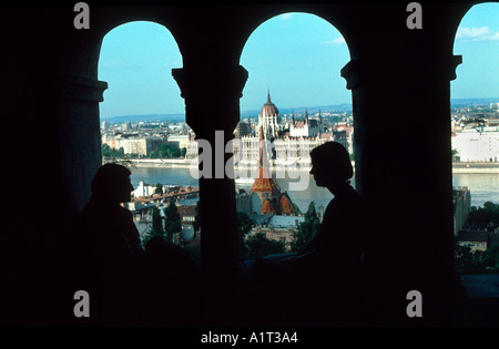 'Budapest Hungary' Overview from 'fisherman's Bastion' 'Urban Scenic' Couple in profile Window View of Parliament - Stock Photo