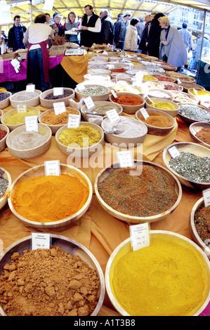 Dried Herbs in Open Market PARIS France Outdoor Food Market, Street Vendor, - Stock Photo