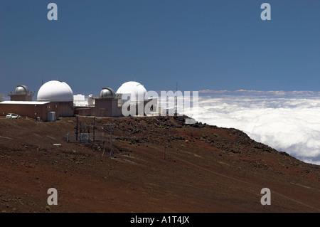 Maui Space Surveillance System domes, Haleakala High Altitude Observatory, Haleakala National Park, Maui, Hawaii, - Stock Photo