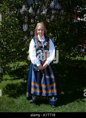 Young woman wearing a bunad, Norway. - Stock Photo