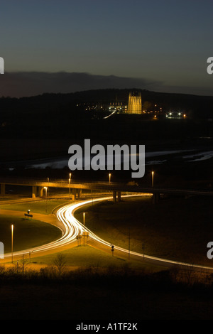 Light trails on the Shoreham flyover / interchange with Lancing College in the background - Shoreham by Sea, West - Stock Photo