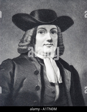 William Penn, 1644 - 1718. English Quaker leader, founder of the English North American colony the Province of Pennsylvania - Stock Photo