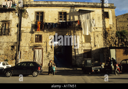 Slum dwelling in Palermo in area hit by American Airforce bombs during WW2 Sicily Italy - Stock Photo