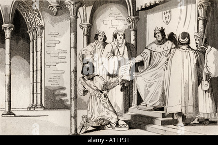 Charles IV The Fair 1294 to 1328 receives a plea at court From Histoire de France by Colart published circa 1840 - Stock Photo