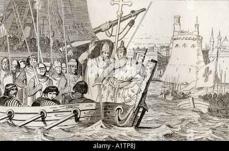 King Louis IX also Saint Louis 1214 to 1270 leads his troops in battle  From Histoire de France by Colart published - Stock Photo