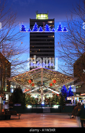 The Precinct shopping mall at Christmas, Coventry, West Midlands, England, UK - Stock Photo