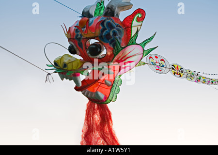 CHINA YANGTZE RIVER Chinese dragon kite - Stock Photo