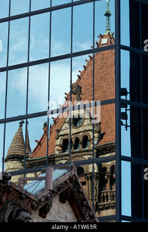 Trinity Church reflected in John Hancock Tower Boston Massachusetts USA - Stock Photo