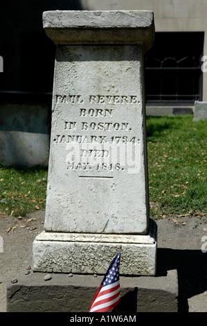 Gravestone of Paul Revere Granary Burying Grounds Boston Massachusetts USA - Stock Photo
