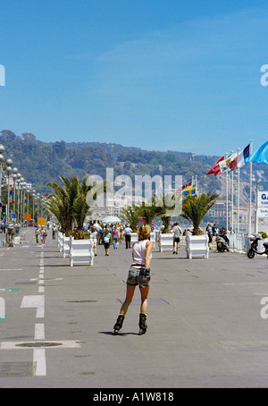 Nice Cote d'Azur France - Rollerblading on the Promenade des Anglais - Stock Photo