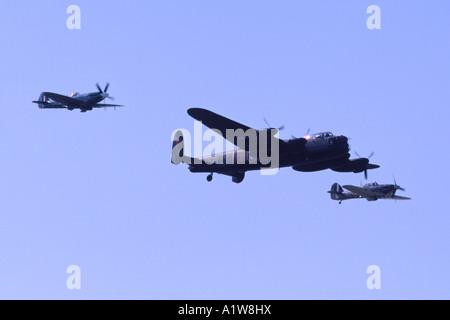 RAF Battle of Britain Memorial Flight Spitfire, Hurricane, and Lancaster. - Stock Photo