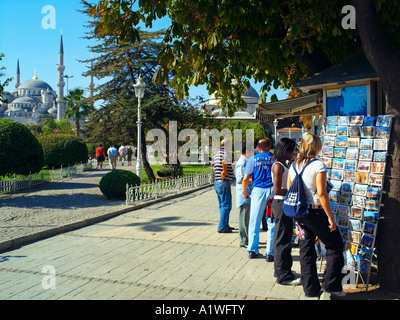 Postcard stand in Sultanahmet Park in Istanbul - Stock Photo