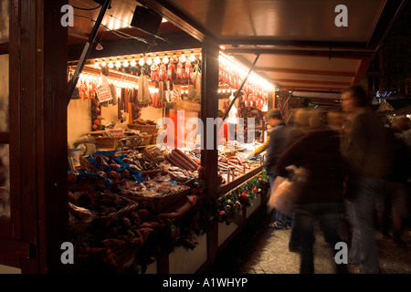 Stalls at night, Manchester Christmas Market, Albert Square, UK - Stock Photo