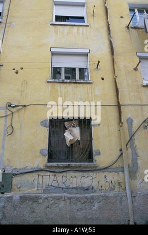 EDI RAMA MAYOR OF TIRANA.  HOME OF HIS MOTHER , in a rundown modest apartment block. TIRANA ALBANIA 03 01 2001 - Stock Photo