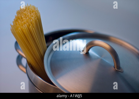 NOODLES ON A BOILING PAN - Stock Photo