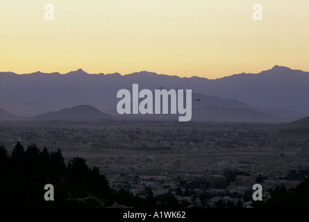 KABUL AFGHANISTAN. Aerial view of the city at sunset - Stock Photo