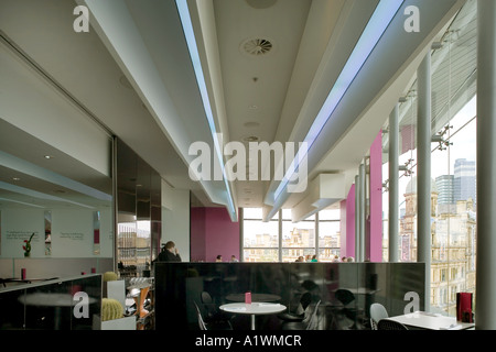 Second Floor Restaurant, Bar and Brasserie, Harvey Nichols, Manchester, 2003.  Lighting in dining area. - Stock Photo