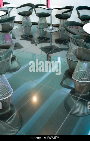 Second Floor Restaurant, Bar and Brasserie, Harvey Nichols, Manchester, 2003.  Chairs. - Stock Photo