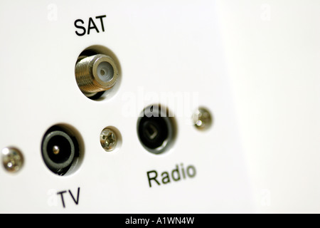 TV Radio and satellite aerial sockets close up - Stock Photo