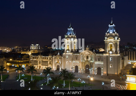An aerial view of The Cathedral in the Plaza de Armas (main square) of the historic center of Lima. - Stock Photo