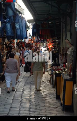Bazaar on the medina of Sousse city in Tunisia - Stock Photo