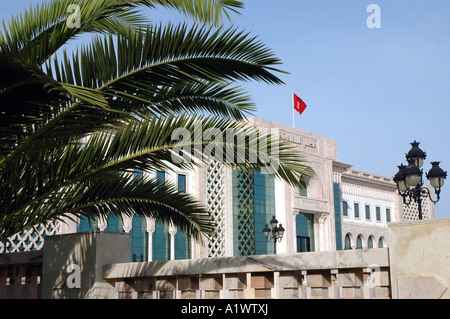 Exterior view showing facade of New Town Hall in Tunis, capital of Tunisia - Stock Photo