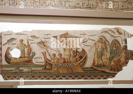 Mosaic scene from Homer's Odyssey, Ulysses meeting with sirens in The Bardo museum in Tunis, capital of Tunisia - Stock Photo