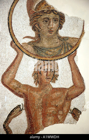 Roman mosaic from Trajan bath in The Bardo museum in Tunis, capital of Tunisia - Stock Photo