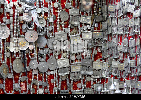 Silver Jewelry in the Old Mutrah Souq, Mutrah, Muscat, Oman - Stock Photo