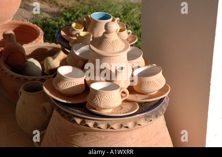 Pottery shop display in Guellala town on Djerba Island in Tunisia - Stock Photo