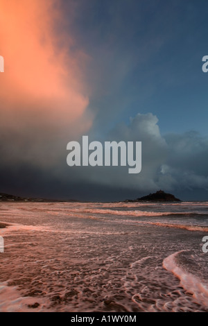 storm over st michael's mount winter sunset cornwall - Stock Photo