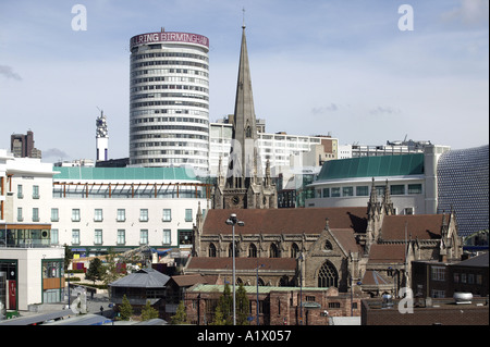 Birmingham City Centre showing the Rotunda St Martins Church and part of the new Bull Ring - Stock Photo