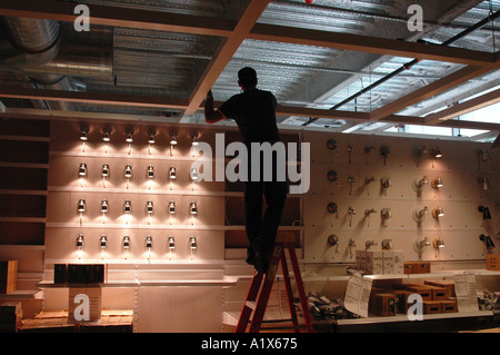 ikea usa lighting. Lighting Designer Working On A Display At New Ikea Home Furnishing Store In Haven Usa