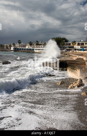 Winter storm in Paphos, Cyprus - Stock Photo