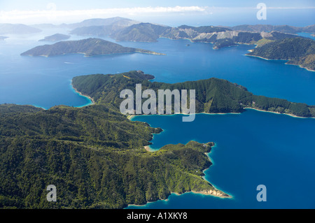 Cockle Cove and Milton Bay middle and Queen Charlotte Sound Marlborough Sounds South Island New Zealand aerial - Stock Photo