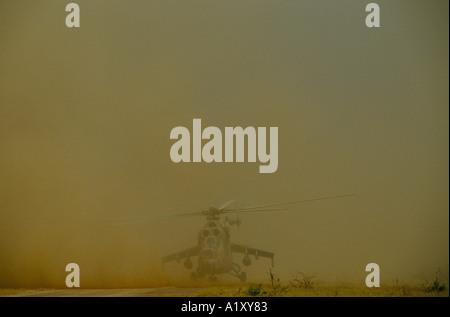 ANGOLA CIVIL WAR AUG 1993 HELICOPTER LANDING - Stock Photo